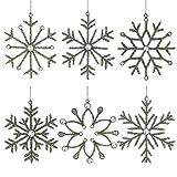ShalinIndia Set aus 6 handgefertigten Schneeflocken Verzierung aus Eisen und Glas zum Aufhängen