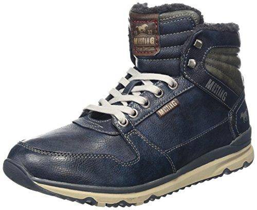 MUSTANG Herren High Top Sneaker Kurzschaft Stiefel, Blau (820 Navy), 42 EU (Schals Zu Wie Binden)
