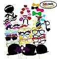RUNFON 58pcs Photo Booth Props Accessoires lunettes, moustaches, lèvres, nœuds papillon, chapeaux sur bâtons pour mariages, fête de Noël, anniversaires