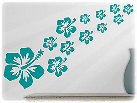 wallfactory - wall decal - 16 great Hibiscus flowers in turquoise