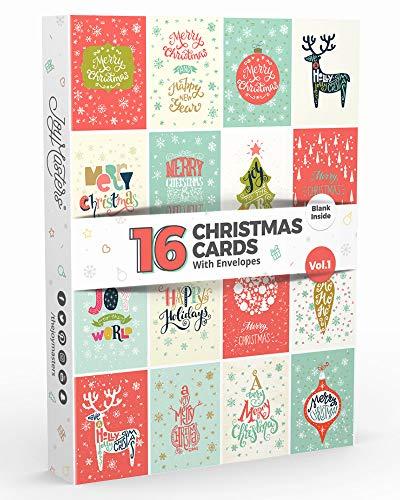 Joy MastersTM Biglietti di Buon Natale Stile Classico per Uomo e Donna - Set di 16 Biglietti di Auguri Natalizi con Busta - Interno Bianco - Vol. 3