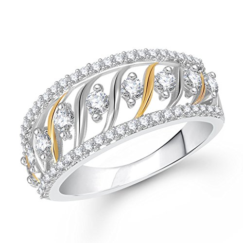 Meenaz Silver Color In American Diamond Cz Ring For Girls & Women Fr444