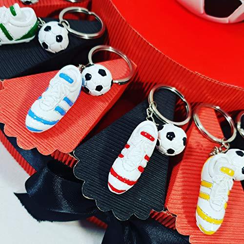 Bomboniere calcio portachiavi scarpette calcio con pallone confezione su torta bomboniera squadra del cuore (fetta milan senza struttura)