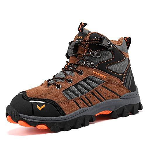 ASHION Wanderschuhe Winterschuhe Kinder Mid Schneestiefel Trekking Wanderstiefel Stiefel Jungen Baumwollschuhe(40 EU,6 Gelb)