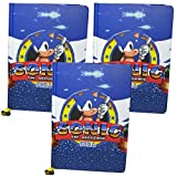 Material de papelería oficial del videojuego Sonic the Hedgehog, de aspecto retro, cuaderno, lápices HB y bolígrafos de punta de bola  THREE PACK Notebook/Journal