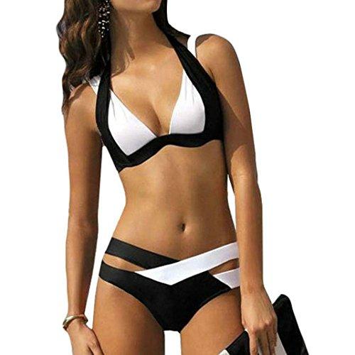 (MCYs Damen Elegant Weiß und Schwarz Bikini-Sets Neckholder Push-Up Bademode Zweiteilig Strandmode (2XL))