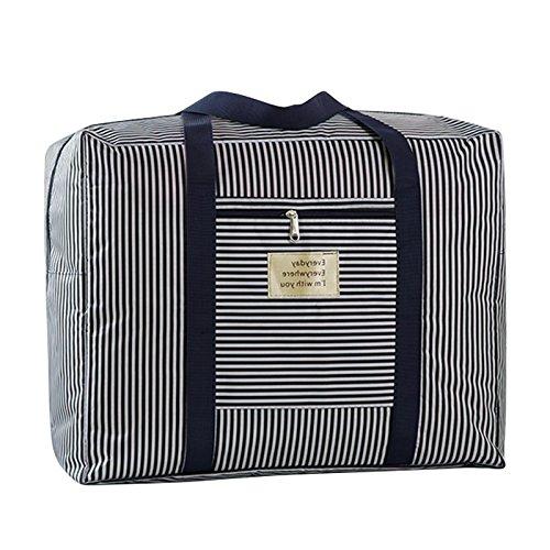 QCHOMEE Faltbar Oxford Tuch Gepäck Tasche Duffel Bag Travel Wasserdicht Tote Oder Duffle Organizer groß Kapazität Quilt Kleidung Aufbewahrungstasche One Size Blue Stripes (Zusammenklappbar Bag Duffle)