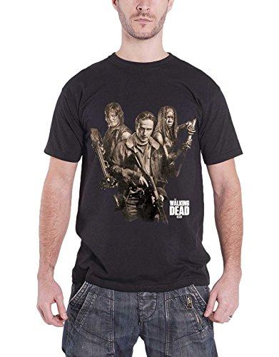 The Walking Dead T Shirt Three Survivors Daryl Rick Michonne Official Mens Black