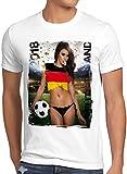 style3 WM 2018 Soccer Girl Deutschland Herren T-Shirt Fußball Trikot Germany Weiss, Größe:L, Land:Deutschland