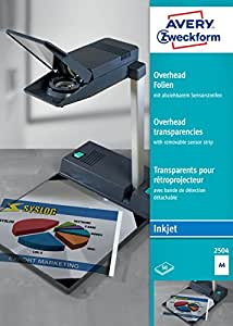 Avery Zweckform 2504 Films transparents pour rétroprojecteur Couché, traitement par lots, avec bande optique détachable 50 feuilles Epaisseur : 0, 11 mm (Import Allemagne)