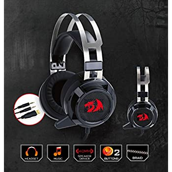 Redragon H301 SIREN 2 7.1 Channel Surround Stereo Gaming Headset Over Ear Headphones with Mic Individual Vibration Noise Canceling LED Light
