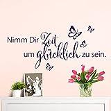 Wandaro W3307 Wandtattoo Spruch Nimm Dir Zeit I schwarz 80x36cm I Schmetterlinge Wohnzimmer Flur selbstklebend Aufkleber Wandaufkleber Wandsticker