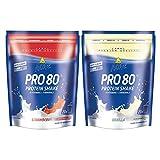 Inko Active Pro 80 Proteinshake 2 Beutel (2 x 500g = 1kg) Erdbeer & Vanille