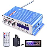 NKTECH 3A Power Supply HY-502S FM/MP3/USB/SD/DVD Audio Speaker Car Bluetooth Digital Amplifier Hi-Fi Bass 2 Channel 20W X 2 RMS Player Blue + Remote Controller