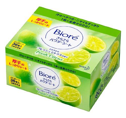 Kao Biore Sarasara Powder Sheets | Skin Care Cleansing Cloth | Deodorantet 36 Sheets Fresh Citrus (Refill)