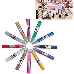 ZeWoo 12 Colores Lápices para Decorar Uñas Pincel Brocha Pintauñas Pluma de Pintura de Nñas Set