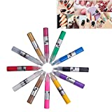 ZeWoo 12 Farben 3D Nageldesign-Lackstifte Nagel Maniküre / Pediküre Nagel Kunst Feder Stifte Set für Nagel Kunst Salon DIY