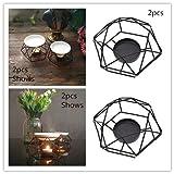 Hongma 2X Geometrische Kerzenleuchter Kerzenständer Teelichtern aus Metall Nordisch Schwarz Zimmer Tische Dekor Geschenk