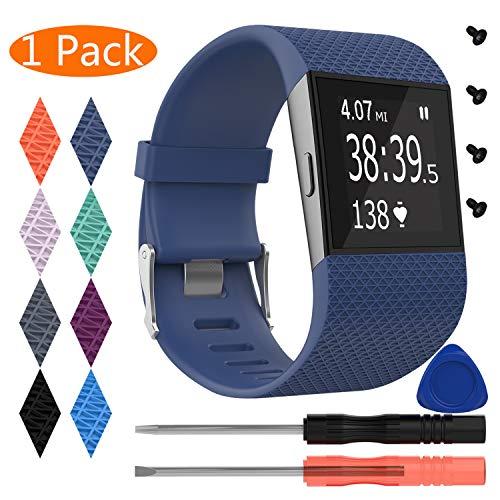KingAcc Kompatibel Fitbit Surge Armband, Silikon Ersatz Armbänder Armband für Fitbit Surge, Sport Armbandarmband Uhrenarmband Damen Herren (1-Pack, Dunkelblau, Groß)