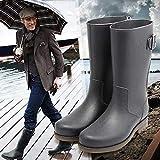 Top Shishang Herren Gummischlauch Niedrige Ferse Regen Stiefel/Winter Rutschfeste Wasserdichte Rindfleisch Sehne Boden Anti-Säure-Arbeitsstiefel, 41, braun