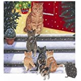 'Guess Who's Coming for Christmas' Ginger, Tabby & Tortoiseshell Cat & Kitten & Hedgehog 10 pack Small Square Xmas cards