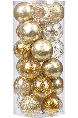 """Ensemble de boules de Noël Sea Team - 70mm - En plastique transparent incassable et décoration à l'intérieur, Plastique, doré, 70mm/2.76"""""""