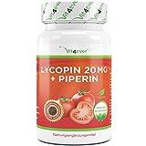 Lycopin 20 mg - 90 Kapseln - Carotinoid aus Tomatenextrakt - Hochdosiert - Verbesserte Bioverfügbarkeit durch Schwarzer Pfeffer - Lycopene Starkes Antioxidans -Vegan - Vit4ever