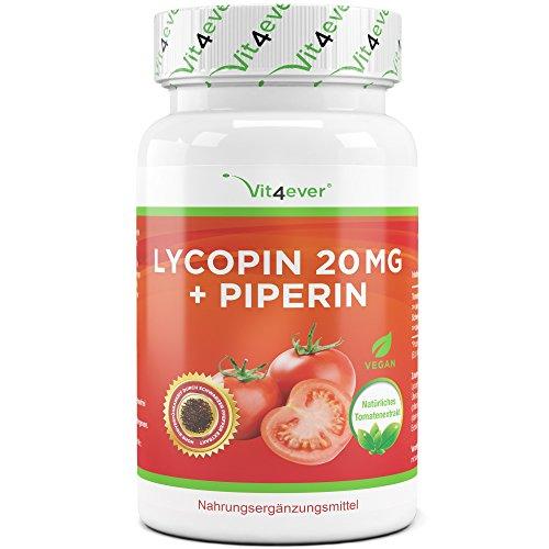 Pfeffer-90 Kapseln (Lycopin 20 mg - 90 Kapseln - Carotinoid aus Tomatenextrakt - Hochdosiert - Verbesserte Bioverfügbarkeit durch Schwarzer Pfeffer - Lycopene Starkes Antioxidans -Vegan - Vit4ever)