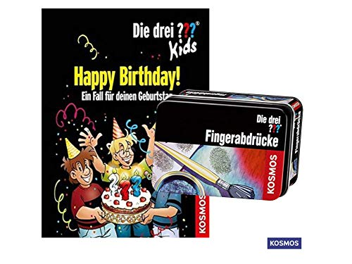 Die DREI ??? Kids - Happy Birthday!: EIN Fall für deinen Geburtstag (Gebundenes Buch) + Forscherkästchen Fingerabdrücke
