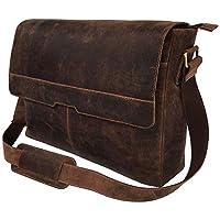 "CRAFAT 18"" Leather Messenger Bag Vintage Buffalo Satchel Laptop Briefcase Unisex Computer Bags for Men Women"