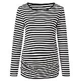 Beikoard Damen Stillender Pullover, Frauen Mutterschaft Streifen Langarm Rundhals Bluse Shirt Tops Schwangerschaft Oberteile Freizeit Kleidung