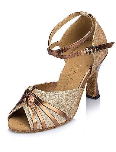 ShangYi Chaussures de danse(Violet / Or) -Personnalisables-Talon Aiguille-Cuir / Flocage-Latine / Moderne Purple