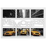 """Hama Collage Bilderrahmen für Fotocollagen """"Budapest - Memories"""" (Fotorahmen mit Memories-Schriftzug für 6 Fotos im Format 10x15, Kunststoff-Rahmen, Echtglas) Fotogalerie weiß"""