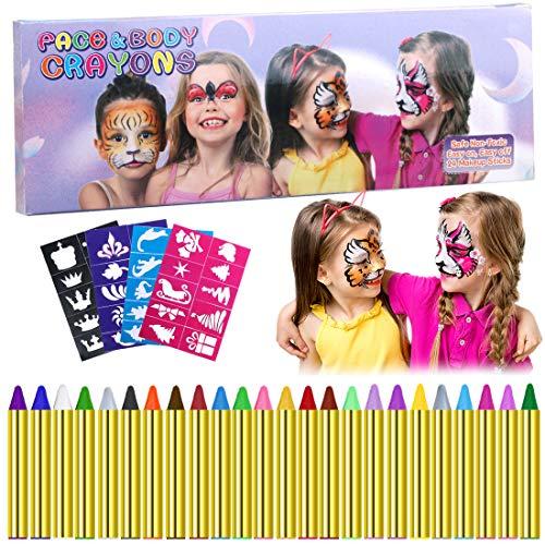 Scopri offerta per Trucchi per Truccabimbi, Emooqi 24 Colori Viso Body Paint Pittura con 4 Stencil Face Paint per Bambini, Trucchi Carnevale Viso, Pasqua, Cosplay, Feste a Tema - Sicuro e Non Tossico Create a face