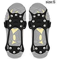 Acutty 1 Pair Anti-Slip 10 Teeth Ice Crampons Traction Cleat for Shoes Boots Outdoor Hiking Climbing