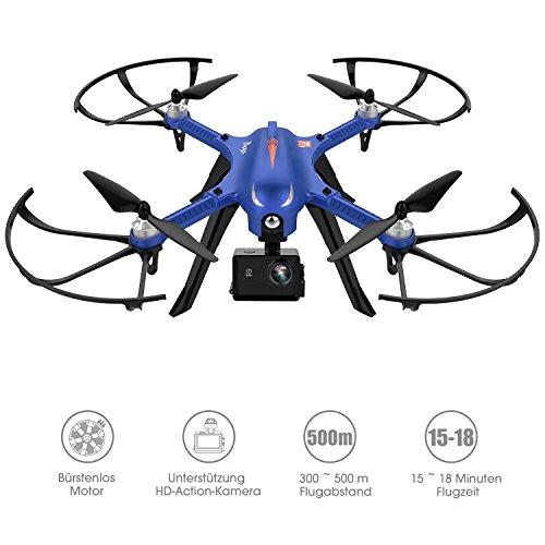 *Drocon Bugs 3 Bürstenlose Drohne (Action Kamera Halterung, 1800-mAh Batterie) blau*