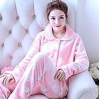 WYIKAI Pijamas La Camisa De La Mujer Establece Pajama Franela 2Pedazo Pijama Longsleeved Home,M