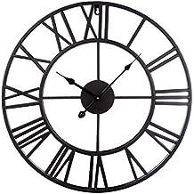 Wanduhr Vintage Lautlos, Vicoki 20 Zoll (50cm) Retro Wanduhr 3D Schwarz  Metal Uhr