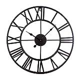 GUOGUO 50cm Wanduhr Groß Vintage Wanduhr Ohne Tickgeräusche mit Großen Römische Ziffern aus Metall (Schwarz)