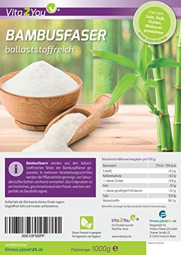 Bambusfaser 1000g – Ballaststoffreich – Glutenfrei – Bambusfasern zum Backen – andicken von Soßen usw. – 1kg im Zippbeutel – Premium Qualität