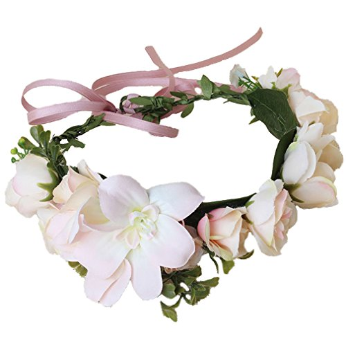 Cinta de guirnalda floral para boda (Rosado)