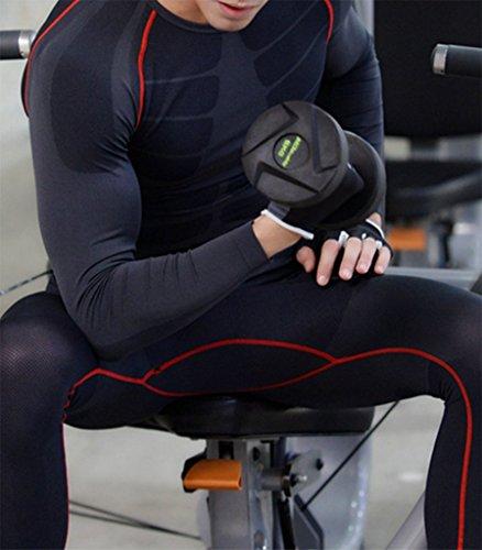 ZZLAY Herren Kompressions Longsleeves T-Shirts Dry Baselayer Sportbekleidung Hosen Set Schwarz & rot-hose