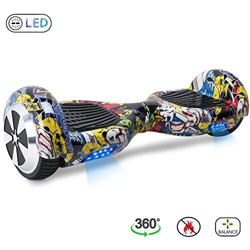 "BE3K Hoverboard 6.5"" Patinete Eléctrico Scooter Auto Electrico Patinetes, Monopatín Eléctrico con 2*350W Motor, Hoverboard Eléctrico para Niños y Adultos (Hip-hop)"