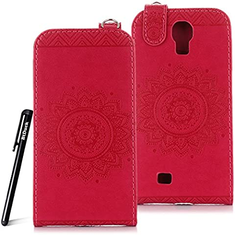 Case for Samsung Galaxy S4 wallet Embossed Flowers case,Samsung Galaxy i9500 Ceramic pattern flip cover,BtDuck protective case Earthly Rose Red shell Retro Buddhism Solid color special Wood carving flowers skin Case for Open vertically Holster Full-body protection machine Totem Anti-scratch Shock Resistant Strong magnetic buckle Magnet Closure [with Lanyard Strap / Rope] Credit Card/Cash Holder Slot - Rose Red Sleeve angel's