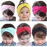 Stofirst 7 Stück Baby Kinder Mädchen Kleinkind Nettes weich Baumwolle Stirnband Turban Knoten Kreuz Stirnbänder Haarband Headwear Haarschmuck