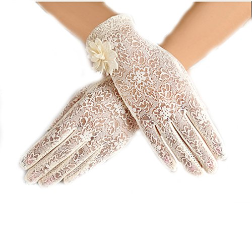 URSFUR Damen Schöne Hochwertige Spitze Sommer Sonnenschutz Handschuhe Netzhandschuhe spitzenhandschuhe Brauthandtuche - Beige (Handschuhe Farbe Spitzen)