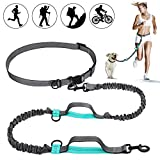 Furkicks Guinzaglio Mani Libere per 2 Cani, Multifunzione Kit di Regolabile/Retrattile Hands Free Dog Leash con Zipper Pouch e Borsa Portabile per Corsa, Passeggiate, Jogging, Escursionismo
