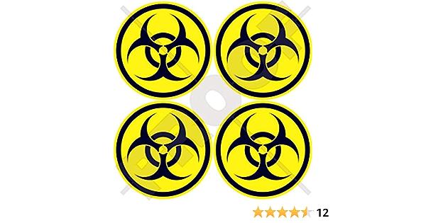 Biohazard Warnaufkleber 50 Mm Covid Virus Biologische Gefahr Sicherheit Rund Vinyl 4 Stück Garten