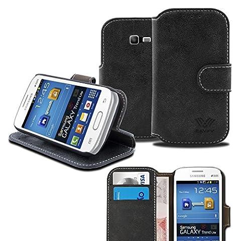 SAVFY® Etui luxe Samsung Galaxy Trend Lite Portefeuille PU Cuir