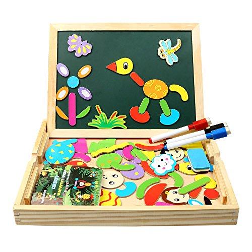 Magnetisches Holzpuzzle | infinitoo Magnetisches Puzzle | Doppelseitiges Magnetisches Holzspielzeug...